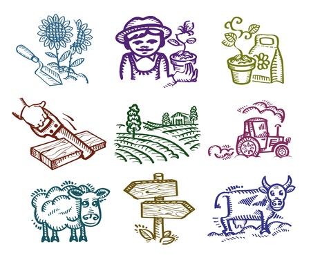 fertilizer: Set of icons. Working in the garden
