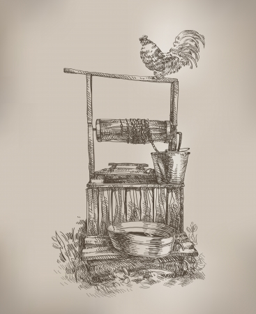 water well: Well. Authors illustration  Illustration