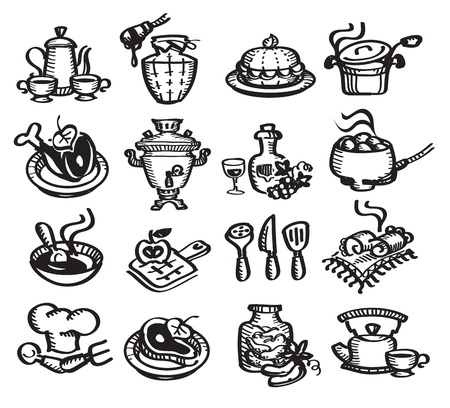 tarte aux cerises: Set d'ic�nes illustration de nourriture Illustration