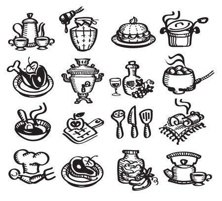 mushroom soup: Set icons food illustration