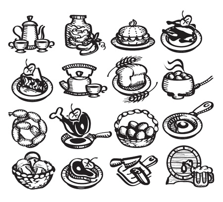 boiling water: Food icons. illustration