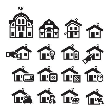 lodger: Home icons  Vector illustration
