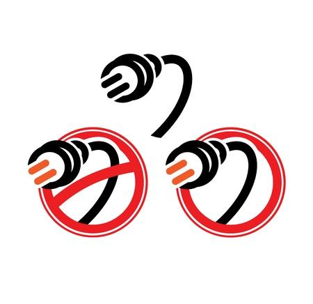illegally: Black electric plug. Vector illustration