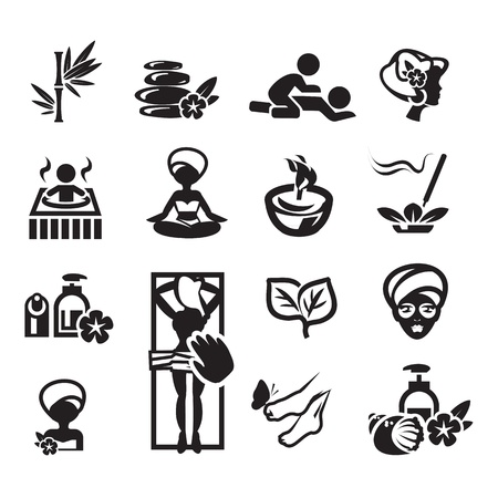 spa stones: Spa icons set