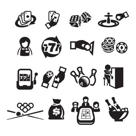 maquinas tragamonedas: Conjunto de iconos de casino Vectores