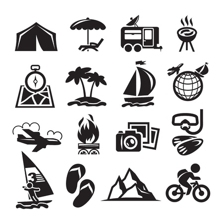barbecues: Recreation Icons. Vector illustration
