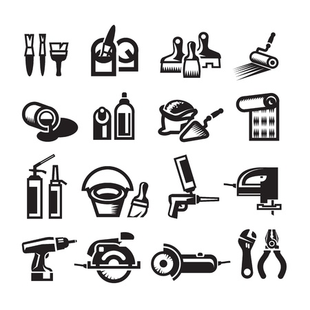 tooling: Black vector construction icon set