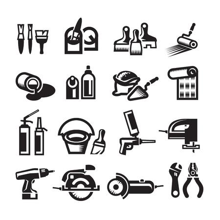 Negro vector de construcción conjunto de iconos Foto de archivo - 20707957