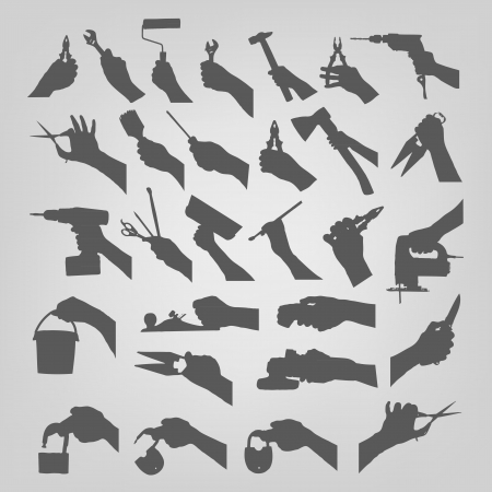 plasterer: Silhouettes of hands