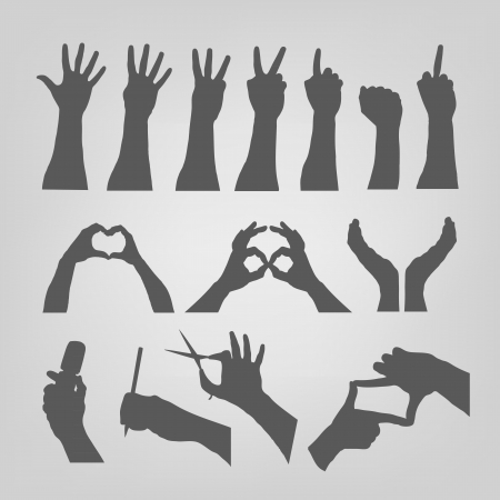 picking: Silhouette of hands Illustration