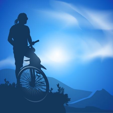 mountain biker: Cyclist  Vector illustration Illustration