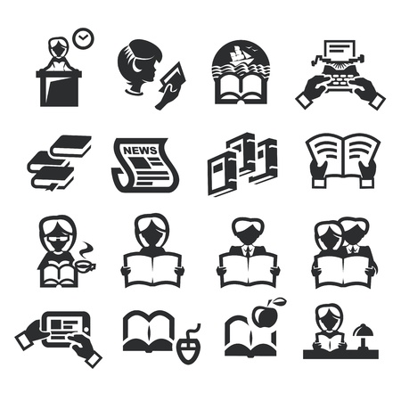 Icons set literature Vector