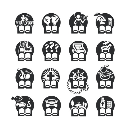 documents circulation: Book icons set