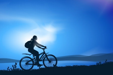 morning walk: Biking. Vector illustration Illustration