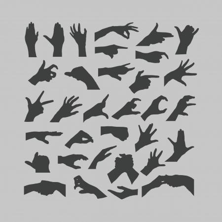 dedo me�ique: Manos iconos Vectores