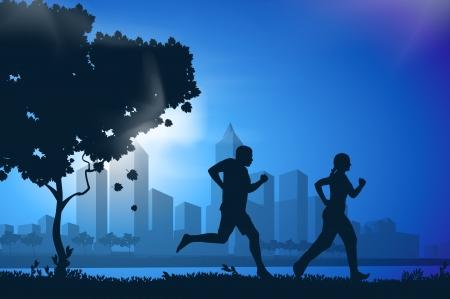 morning walk: Vector drawing running athletes