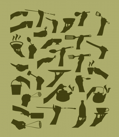 Kitchen tool collection. Vector silhouette Vector