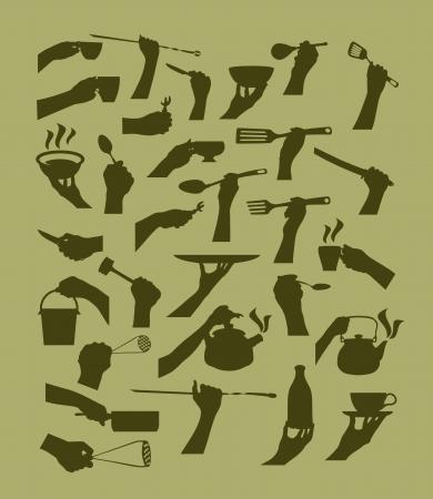 woman drinking milk: Kitchen tool collection. Vector silhouette Illustration