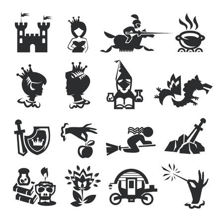 bonne aventure: fées icônes de conte Illustration