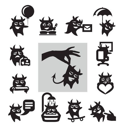 wicked set: hell icons Illustration