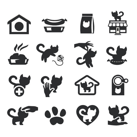 Cats set on gray Vector