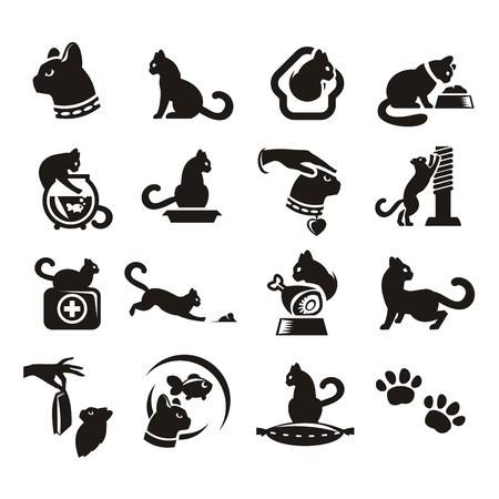 silhouette chat: Silhouettes de chat Illustration