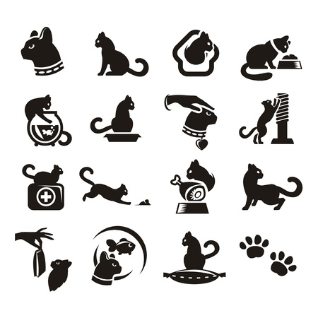 cat tail: Silhouettes of cat