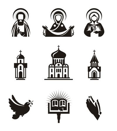 high priest: Religion icons Illustration