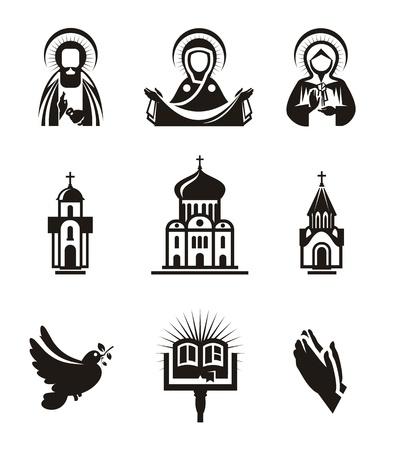 catholic symbols: Religion icons Illustration