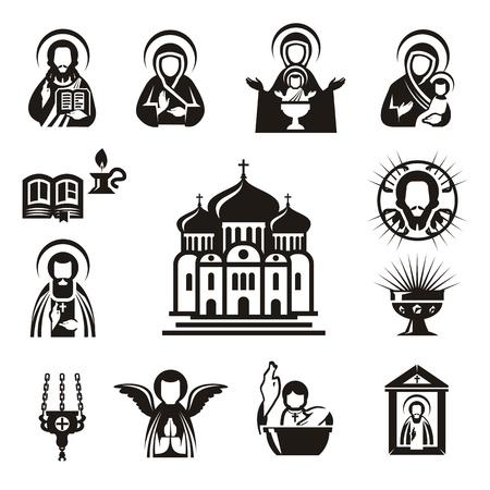 bautismo: Iconos religiosos Vectores