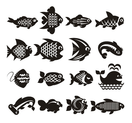 exotic fishes: Fish icons set