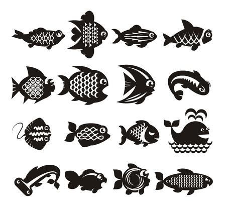 escamas de peces: Iconos de los pescados fijados