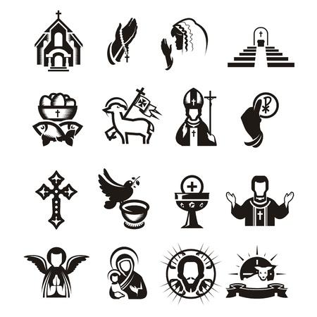 confirmacion: Iconos religiosos Vectores