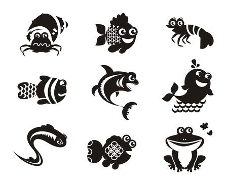 zeichnen: Stilisierte Meerestiere auf weißem Hintergrund