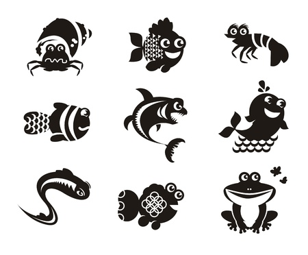 draw animal: Stylized marine animals on a white background