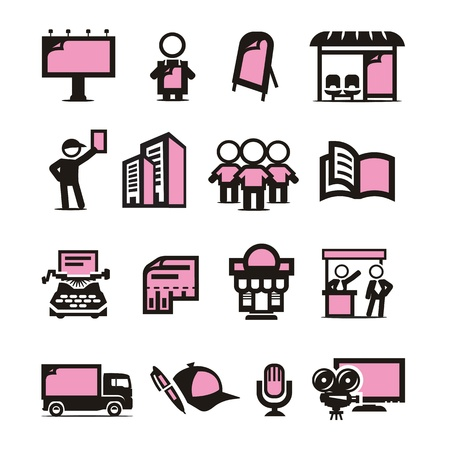 leaflets: Advertising icons set