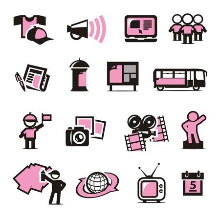 Advertising icons set Vektorové ilustrace