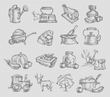 millet: Village icons Illustration