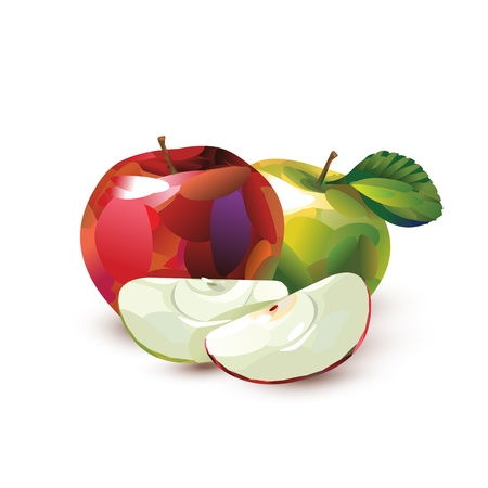 Green and red apple. Vector format Vector
