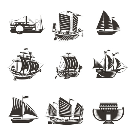 ship steering wheel: Boat and ship icons set