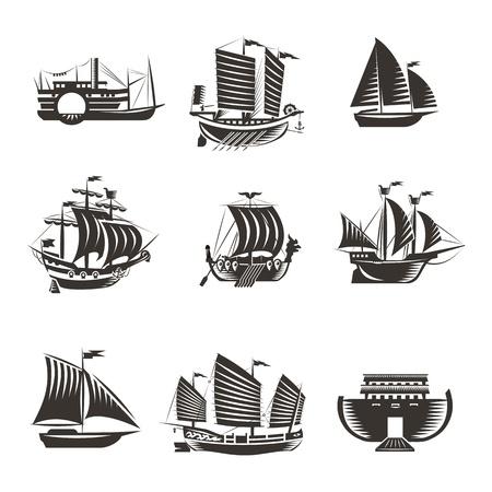 speed boat: Iconos de barco y barco establecen Vectores