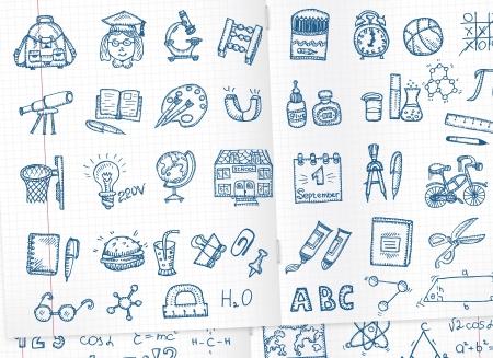 calendario escolar: Iconos de la escuela establecen