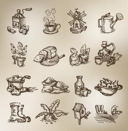 zeichnen: Weinlese-Ikonen