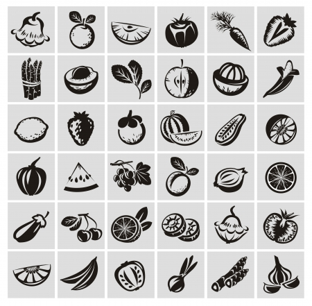 Groenten en fruit iconen Vector Illustratie