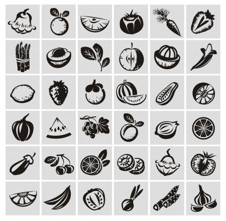 diabetico: Verduras y frutas iconos