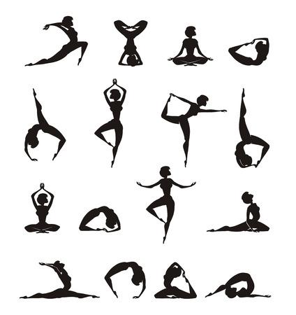 Silueta de la yoga de la muchacha Foto de archivo - 22261198