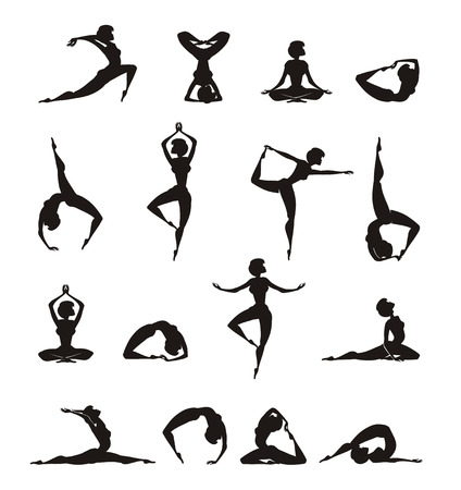 Yoga  Silhouette of girl Stock Vector - 22261198