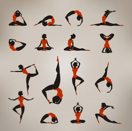Yoga  Vintage icons Vector