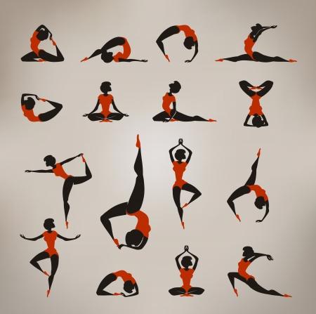 Yoga Vintage pictogrammen Stockfoto - 22261201