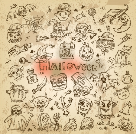 Halloween  Hand-drawn icons Vector